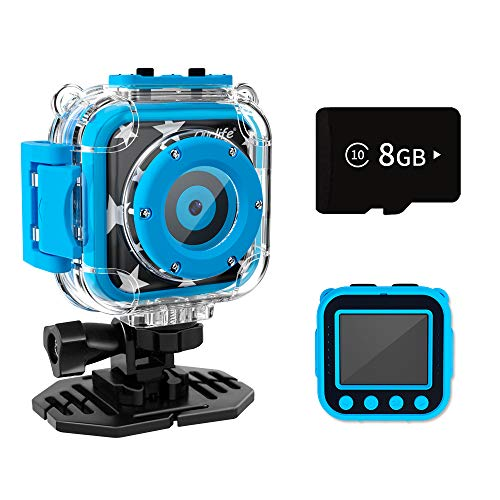 Ourlife Kids Camera Toys for Boys Aged 3-9, HD Digital Video Cameras with 8GB SD Card and 100 FT Waterproof, Birthday/Christmas/Children's Day Gifts for 3 4 5 6 7 8 9 10 Year Old Boys