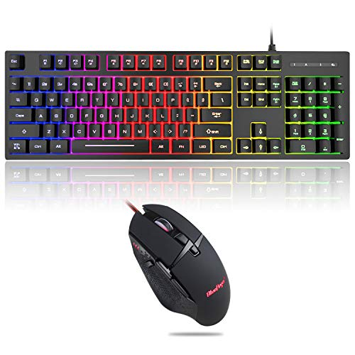 RGB 104 Keys Gaming Keyboard and Backlit Mouse Combo,BlueFinger USB Wired Rainbow Keyboard,Gaming Keyboard Set for Laptop PC Computer Game and Work