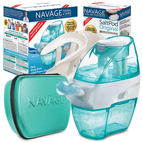 Navage Nasal Care Deluxe Bundle: Navage Nose Cleaner, 50 SaltPod Capsules, Countertop Caddy, and Travel Case. 164.85 if Purchased Separately. You Save 49.90 (Teal). for Improved Nasal Hygiene.