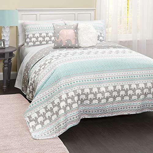 Lush Decor Elephant Striped Quilt Reversible 5 Piece Kids Bedding Set, Twin, Pink & Turquoise