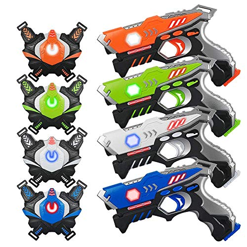 Laser Tag Gun, 4 Pack Lazer Tag for Kids 5 6 7 8 9 + Year Old, Kidpal Infrared Laser Tag with Vest and Gun Indoor Outdoor Laser Gun| Best gift for kids Age 6 7 8 9 10 11 12+ Boy Girl