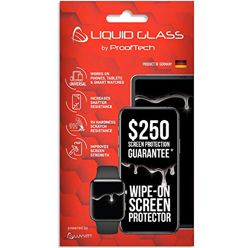 Liquid Glass Screen Protector with $250 Screen Protection Guarantee - Scratch Resistant Wipe On Nano Coating for All Phones Tablets Smart Watches Apple Samsung iPhone iPad Galaxy and Others Universal