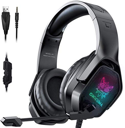 ONIKUMA Gaming Headset with Microphone, Noise Canceling Headphones with 3D Surround Sound Stereo, Soft Earmuff & RGB LED Light, Over-Ear Game Headphones for PC, PS4, Xbox One, PS5, Mac, Laptop-Black
