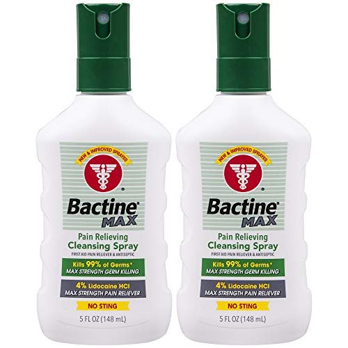 Bactine Max Pain Relieving Cleansing Spray, Maximum Strength First Aid Pain Relief + Antiseptic Spray, 5oz, 2 Pack