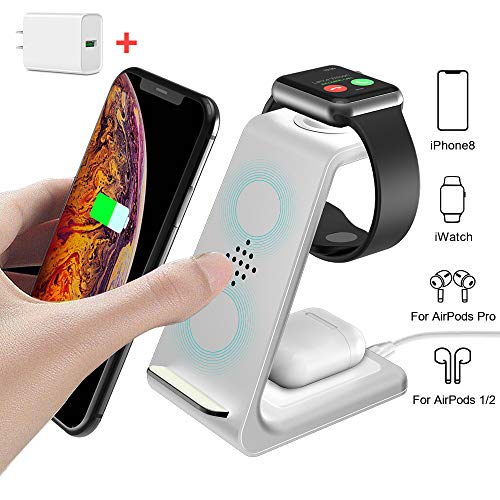 Wireless Charging Stand, GEEKERA 3 in 1 Wireless Charger Fast Charging Dock Station for Apple Watch 5 4 3 2, Airpods 2/Pro, iPhone 11/11 Pro/X/Xr/Xs/8 Plus,Qi-Certified Phones(with QC 3.0 Adapter)