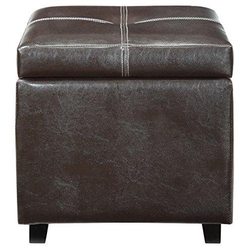 Modway Treasure Tufted Faux Leather Square Storage Ottoman Cube In Espresso