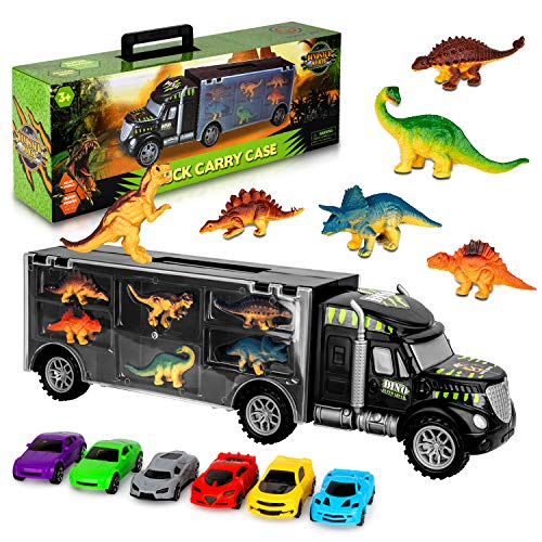 AOKESI Car Toys Transport Carrier Truck Dinosaur Toys for 3-12 Years Old Boys and Girls (Includes 6 Dinosaurs and 6 Mini Car)