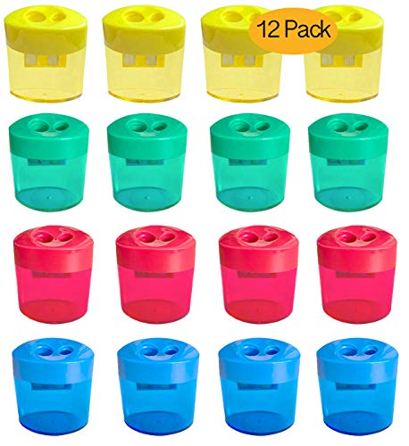 12 Pack Double Hole Pencil Sharpener, Manual Pencil Sharpener with Lid, Oval Shaped Colorful Hand Held Pencil Sharpener for for School Office Home