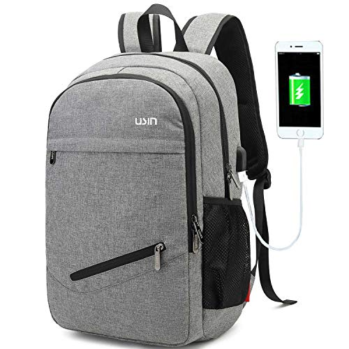 USIN Laptop Backpacks Fits 15 15.6 inch Water Repellent College Computer Backpacks with USB Charging Port for Men/Women, grey