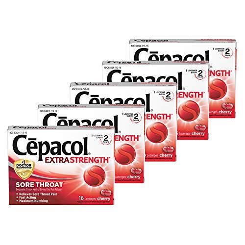 Cepacol Maximum Strength Throat Drop Lozenges, Cherry, 16 ct (Pack of 5)