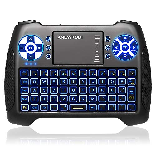 (2020 Latest, Backlit) ANEWISH 2.4GHz Mini Wireless Keyboard with Touchpad Mouse Combo, Rechargable Li-ion Battery & Multi-media Handheld Remote for Google Android TV Box,PS3,PC,PAD (T16-BLUE)