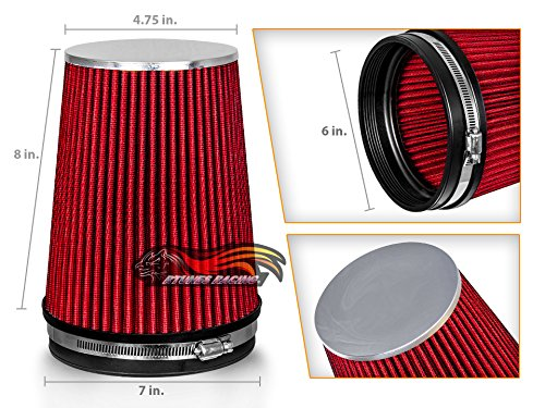 RED 6' 152 mm Inlet Truck Cold Air Intake Cone Replacement Performance Washable Clamp-On Dry Air Filter (8' Tall)