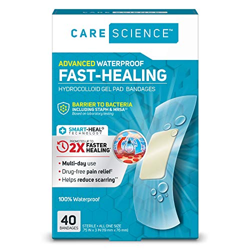 Care Science Fast-Healing Waterproof Hydrocolloid Gel Pad Bandages, 0.75 in x 3 in, 40 ct | 100% Waterproof Seal, 2X Faster Healing, Barrier to Bacteria, for Blisters or Wound Care