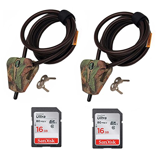 Master Lock Cable Lock, Python Adjustable Keyed Cable Locks (2x), 6 ft., Camo, 8418DCAMO & 2 16GB SD Cards