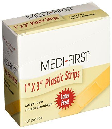 Medi-First 60033 Plastic Strip Bandage, 1-Inch by 3-Inch, 100 Per Box