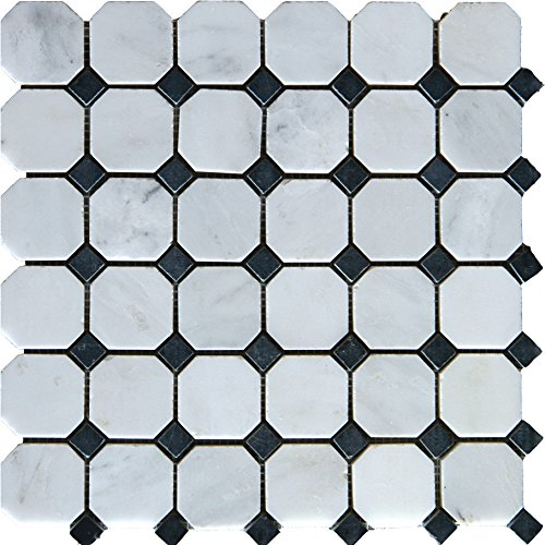 M S International Arabescato Carrara Octagon 12 In. X 12 In. Honed Marble Mesh-Mounted Mosaic Tile, (10 sq. ft., 10 pieces per case)