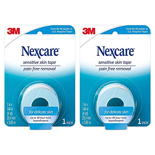 Nexcare Sensitive Skin Tape, 1 in x 4 yds (Pack of 2), 2 Count (Pack of 1)