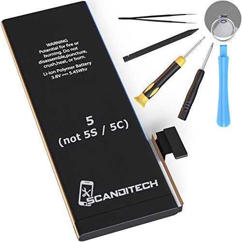 ScandiTech Battery Model iP5 (not 5S or 5C) - Replacement Kit with Tools, Adhesive & Instructions - New 1440 mAh 0 Cycle Battery - Repair Your Phone in 15 min - 1 Year Warr