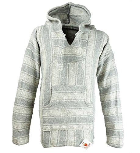 Funny Guy Mugs Premium Baja Hoodie Sweatshirt Pullover Jerga Poncho (Grey Squirrel, X-Large)