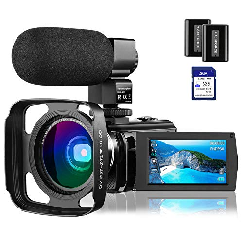 4K Video Camera Camcorder Vlogging Camera for YouTube Rosdeca Ultra HD 48.0MP WiFi Digital Camera IR Night Vision 3.0' IPS Touch Screen 16X Digital Zoom with Microphone, Wide Angle Lens Memory Card