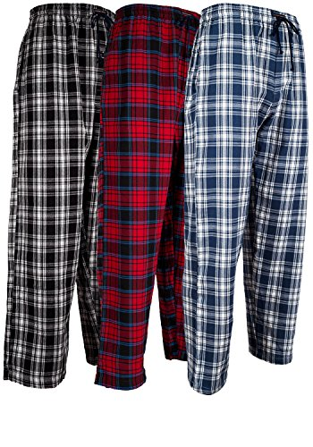 Andrew Scott Men's 3 Pack Cotton Flannel Fleece Brush Pajama Sleep & Lounge Pants (XL / 40-42, 3 Pack - Classic Flannel Assorted Plaids)