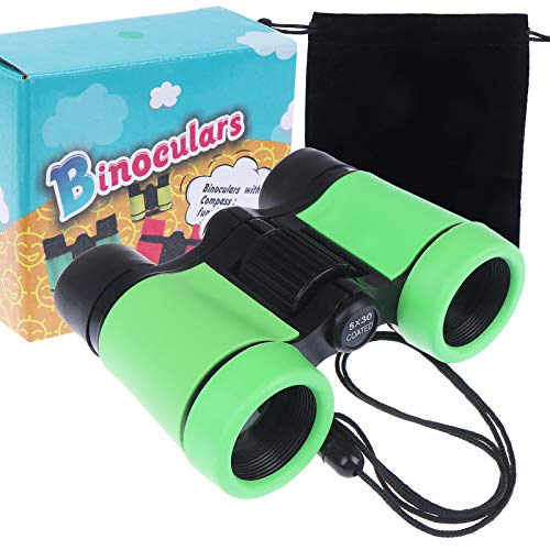 Colorful Kids Binoculars Toys with Compact Rubber Design Anti-Slip for Boys and Girls Bird Watching Outdoor Camping Adventure Educational Binocular Science Kits Birthday Gifts