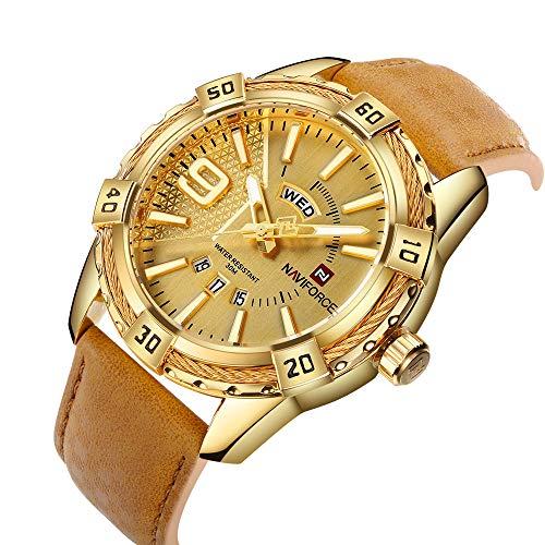 NAVIFORCE Luxury Men Sports Watches Waterproof Quartz Leather Watch Gold Big Face Date Clock
