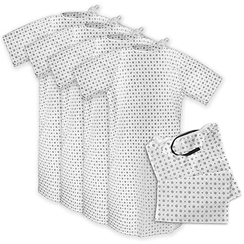 Hospital Gown (4 Pack) Cotton Blend, Useful, Fashionable Patient Gowns, Back Tie, 46' Long & 66' Wide, Fits to 2XL Sizes Fit Comfortably - Hospital Gown (4 Pack)