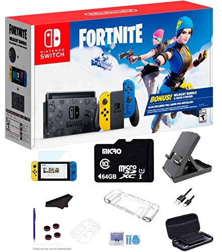 Newest Nintendo Switch Wildcat Bundle Fort-nite Special Edition 32GB Console - Yellow and Blue Joy-Con, 64GB SD Card and GalliumPi Ultimate 18-in-1 Bundle