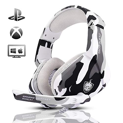 Gaming Headset for PS4, Xbox One, PC, Laptop, Mac, Nintendo Switch, PHOINIKAS 3.5MM PS4 Headset with Mic, Over Ear Headset, Noise-Cancelling Headset, Bass Surround, LED Light, Comfort Earmuff - Camo