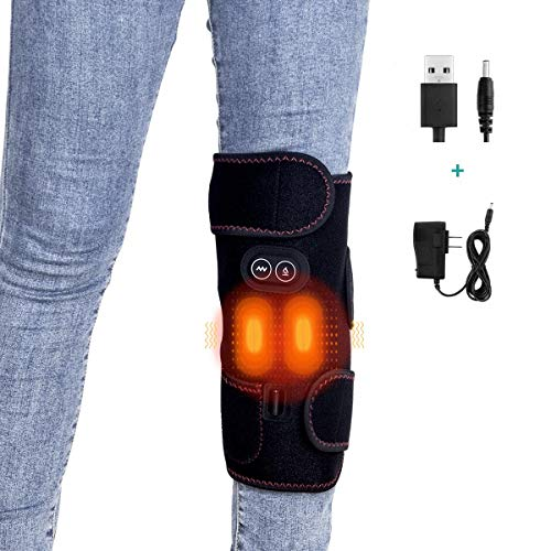 Massage Heating Knee Brace for Knee Pain Relief, ElectricHeating Knee Pad Vibration Knee Massager Thermal Heat Therapy Hot Compress for Meniscus Arthritis Patella Muscle Pain Relief Injury Recovery