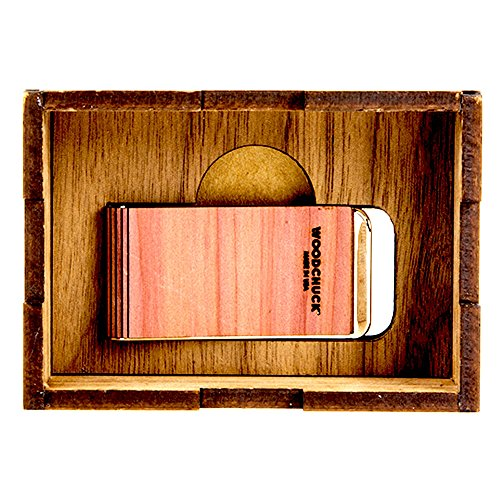 WOODCHUCK Wooden Cedar Money Clip, Handmade in the USA, Real, Genuine Wood - Slim Profile Stainless Steel Body for Cash and Cards