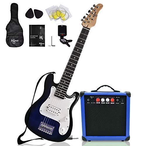 Kids 30 Inch Electric Guitar and Amp Complete Bundle Kit for Beginners-Starter Set Includes 6 String Tremolo Guitar, 20W Amplifier with Distortion, 2 Picks, Shoulder Strap, Tuner, Bag Case - Blue
