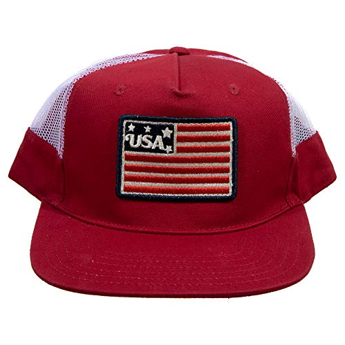 Classic USA American Flag Patch Red & White Trucker Hat