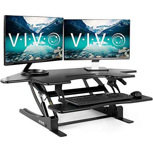 VIVO Black Corner Height Adjustable 43 inch Cubicle Standing Desk Converter, Quick Sit to Stand Tabletop Dual Monitor Riser (DESK-V000VC)