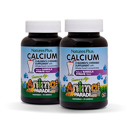 NaturesPlus Animal Parade Source of Life Children's Calcium Supplement (2 Pack) - 90 Animal Shaped Tablets - Vanilla Sundae Flavor - Magnesium For Bone Health - Gluten-Free - 45 Total Servings