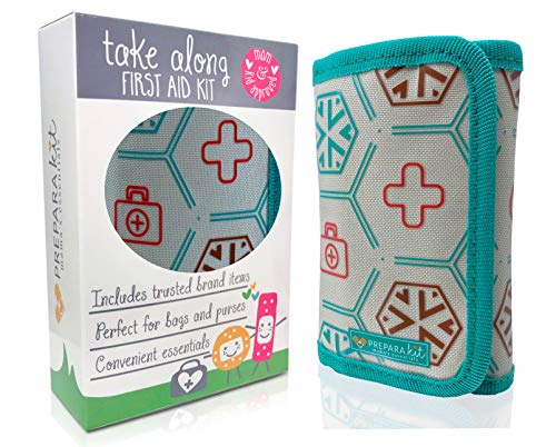Small Compact First Aid Kit for Baby Diaper Bag, Travel, Purse, Home and Car (Calming Teal)