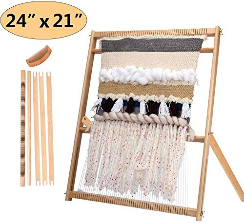 Weaving Loom with Stand 24'H x 21'W (Approx.) Wooden Multi-Craft Weaving Loom Arts & Crafts, Extra-Large Frame, Develops Creativity and Motor Skills Weaving Frame Loom with Stand (with Instructions)