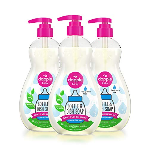 Dapple Baby, Bottle and Dish Soap Dish Liquid Plant Based Hypoallergenic 1 Pump Included, Packaging May Vary, Fragrance Free, 50.7 Fl Oz, (Pack of 3)