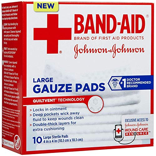 Johnson & Johnson Red Cross First Aid Gauze Pads 4x4' - 10 ct, Pack of 3