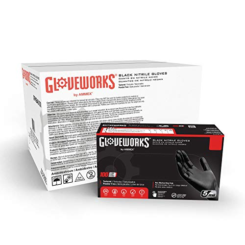 GLOVEWORKS Industrial Black Nitrile Gloves, Case of 1000, 5 Mil, Size Large, Latex Free, Powder Free, Textured, Disposable, Food Safe, GPNB46100