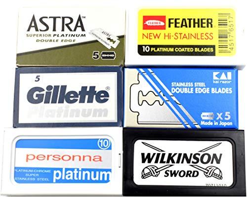 Astra-Feather-KAI-Personna-Wilkinson Double Edge Razor Blades Sampler (40 blades, 6 different brands)