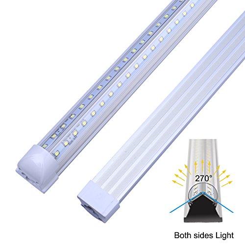 LED Tube Light Bulb, 4FT 36W, 80W Equivalent, T8 Shop Lighting, Double Side V Shape Integrated, Clear Cover, Cold White 6000K, AC85-265V, LED Cooler Door Lights - Pack of 25 Units