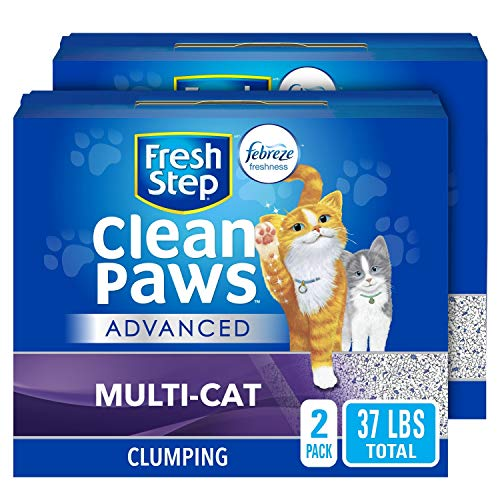 Fresh Step Advanced Clean Paws Clumping Cat Litter, Low Tracking Cat Litter with Odor Control, 37 lbs Total ( 2 Pack of 18.5 lb Boxes)