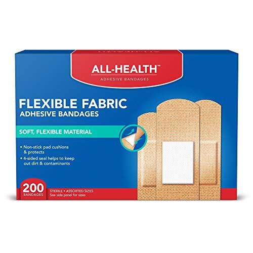 All Health Flexible Fabric Adhesive Bandages, Assorted Sizes Variety Pack, 200 ct   Flexible Protection for First Aid and Wound Care