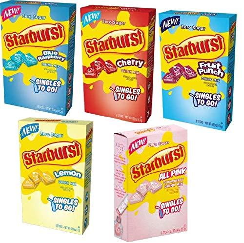 Starburst Singles to go variety pack 5 box, 5 flavor (rasberry, cherry, fruit punch, strawberry and lemon)