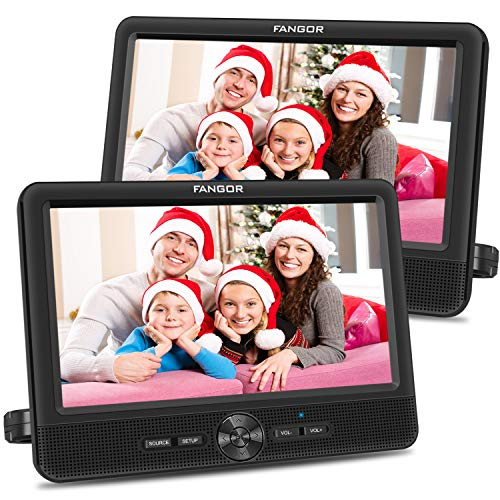 FANGOR 10'' Dual Car DVD Player Portable Headrest CD Players with 2 Mounting Brackets, 5 Hours Rechargeable Battery, Last Memory, Free Regions, USB/SD Card Reader, AV Out&in ( 1 Player + 1 Screen )