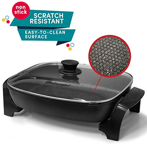 Elite Gourmet EG-6203 Non-Stick Deep Dish Heavy Duty Electric Skillet with Tempered G Easy-Pour Spout, Dishwasher Safe, 1500W, 16' x 13' x 3.15', Black
