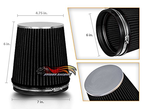 BLACK 6' 152 mm Inlet Short Truck Cold Air Intake Cone Replacement Performance Washable Clamp-On Dry Air Filter (6' Tall)