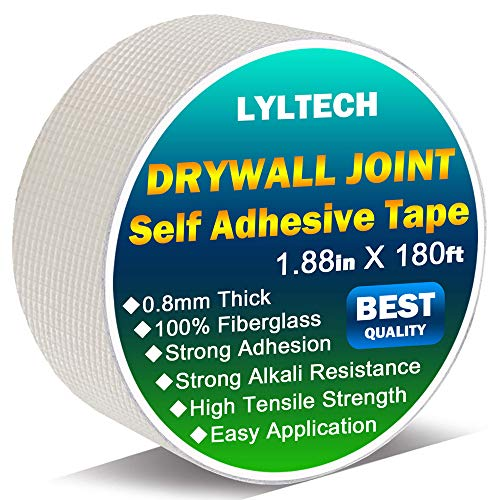 Drywall Joint Tape-13 MESH,100% Fiberglass 1.88-Inch X 180Feet,Heavy-Duty Self-Adhesive Wall Crack and Seam Patch